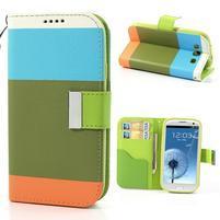 Tricolors PU kožené puzdro pre mobil Samsung Galaxy S3 - zelený stred