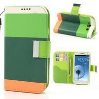 Tricolors PU kožené puzdro pre mobil Samsung Galaxy S3 - tmavozelený stred