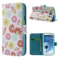 Knížečkové puzdro pre Samsung Galaxy S3 - kvetinky