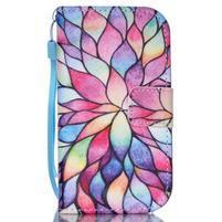 Knížkové PU kožené puzdro pre Samsung Galaxy S3 mini - farebné kvety