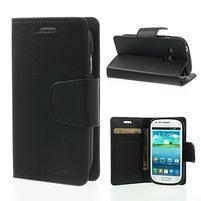 Diary PU kožené puzdro pre Samsung Galaxy S3 mini - čierne