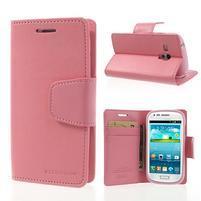 Diary PU kožené pouzdro na Samsung Galaxy S3 mini - růžové