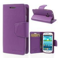 Diary PU kožené pouzdro na Samsung Galaxy S3 mini - fialové