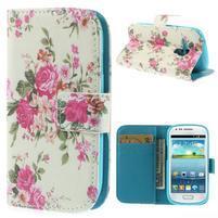 Knížkové puzdro pre mobil Samsung Galaxy S3 mini - kvetinová koláž