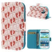 Knížkové puzdro pre mobil Samsung Galaxy S3 mini - tlapky