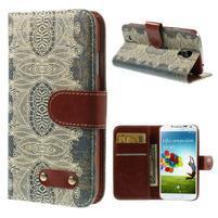 Elegant peněženkové pouzdro na Samsung Galaxy S4 - retro květina