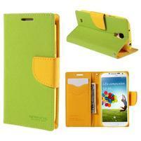 Sunny PU kožené puzdro pre mobil Samsung Galaxy S4 - zelené