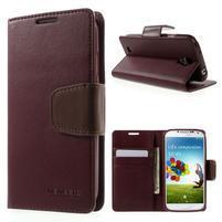 Diary PU kožené pouzdro na mobil Samsung Galaxy S4 - vínové