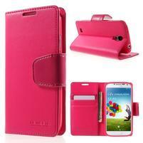 Diary PU kožené puzdro pre mobil Samsung Galaxy S4 - rose