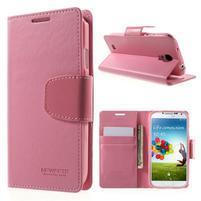 Diary PU kožené puzdro pre mobil Samsung Galaxy S4 - ružové
