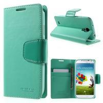 Diary PU kožené puzdro pre mobil Samsung Galaxy S4 - azúrové