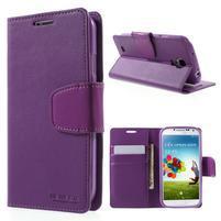 Diary PU kožené puzdro pre mobil Samsung Galaxy S4 - fialové