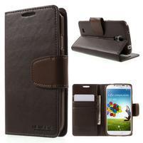 Diary PU kožené pouzdro na mobil Samsung Galaxy S4 - coffee