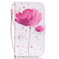 Knížkové koženkové puzdro pre Samsung Galaxy S4 - flower