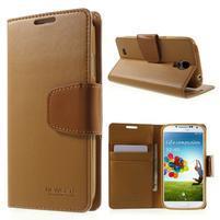 Diary PU kožené puzdro pre mobil Samsung Galaxy S4 - hnedé