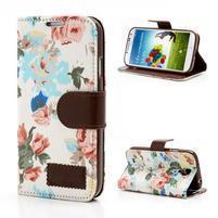Květinové pouzdro na mobil Samsung Galaxy S4 - bílé pozadí