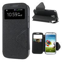 Okýnkové peňaženkové puzdro pre mobil Samsung Galaxy S4 - čierne