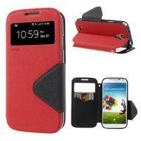 Okýnkové peňaženkové puzdro pre mobil Samsung Galaxy S4 - červené