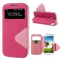 Okýnkové peňaženkové puzdro pre mobil Samsung Galaxy S4 - rose