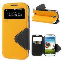 Okýnkové peňaženkové puzdro pre mobil Samsung Galaxy S4 - žlté