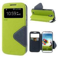 Okýnkové peňaženkové puzdro pre mobil Samsung Galaxy S4 - zelené