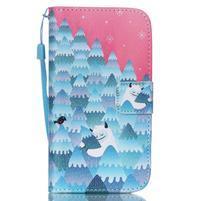 Knížkové koženkové puzdro pre Samsung Galaxy S4 - snowman