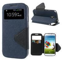 Okýnkové peňaženkové puzdro pre mobil Samsung Galaxy S4 - tmavomodré