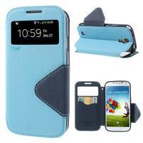 Okýnkové peňaženkové puzdro pre mobil Samsung Galaxy S4 - svetlomodré