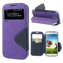 Okýnkové peňaženkové puzdro pre mobil Samsung Galaxy S4 - fialové