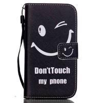 Knížkové koženkové pouzdro na Samsung Galaxy S4 - nedotýkat se