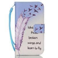 Diary peňaženkové puzdro pre mobil Samsung Galaxy S4 mini - vtáčiky
