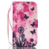 Diary peňaženkové puzdro pre mobil Samsung Galaxy S4 mini - motýle