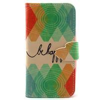 Diaryleather pouzdro na mobil Samsung Galaxy S4 mini - be happy
