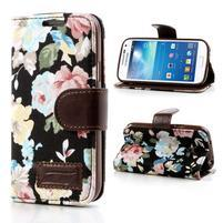 Kvetinkové puzdro pre mobil Samsung Galaxy S4 mini - čierne pozadie
