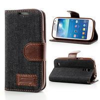 Jeans štýlové puzdro pre mobil Samsung Galaxy S4 mini - čiernomodré