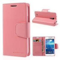 Sonata PU kožené puzdro pre mobil Samsung Galaxy S4 mini - ružové