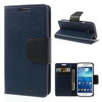Sonata PU kožené puzdro pre mobil Samsung Galaxy S4 mini - tmavomodré
