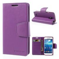 Sonata PU kožené pouzdro na mobil Samsung Galaxy S4 mini - fialové