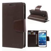 Sonata PU kožené puzdro pre mobil Samsung Galaxy S4 mini - coffee