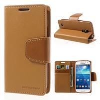 Sonata PU kožené puzdro pre mobil Samsung Galaxy S4 mini - hnedé