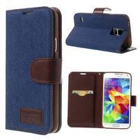 Jeans peňaženkové puzdro pre mobil Samsung Galaxy S5 - tmavomodré
