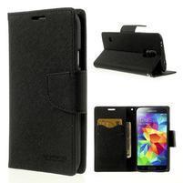 Diary peňaženkové puzdro pre Samsung Galaxy S5 - čierne