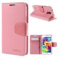 Elegantní peněženkové pouzdro na Samsung Galaxy S5 - růžové
