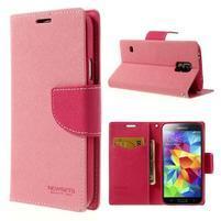Diary peňaženkové puzdro pre Samsung Galaxy S5 - ružové