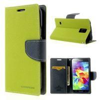 Diary peňaženkové puzdro pre Samsung Galaxy S5 - zelené