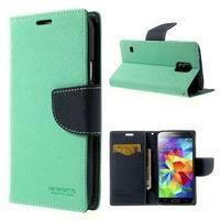 Diary peňaženkové puzdro pre Samsung Galaxy S5 - azúrové