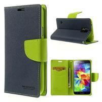 Diary peňaženkové puzdro pre Samsung Galaxy S5 - tmavomodré