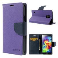 Diary peňaženkové puzdro pre Samsung Galaxy S5 - fialové