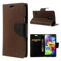 Diary peňaženkové puzdro pre Samsung Galaxy S5 - hnedé