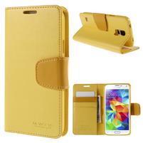 Elegantní peňaženkové puzdro pre Samsung Galaxy S5 - žlté